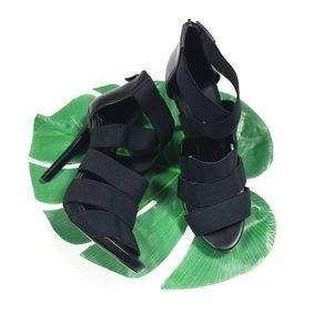 BCBG Strappy Black Stilettos